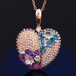 Filled with Love Diamond and Gemstone Pendant