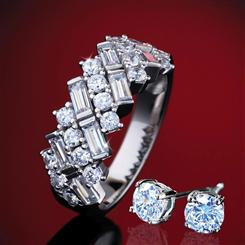DiamondAura Happy Anniversary Band & Earrings
