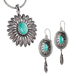 Turquoise Sky Collection Pendant, Chain and Earrings