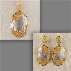Rosa di Pizzo Earrings, Pendant and Chain