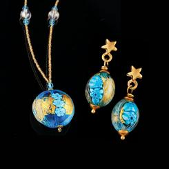 Tuscan Sky Murano Collection Necklace and Earrings