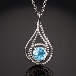 Blue Topaz Raindrop Necklace