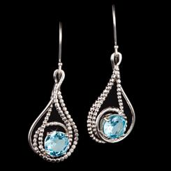 Blue Topaz Raindrop Earrings