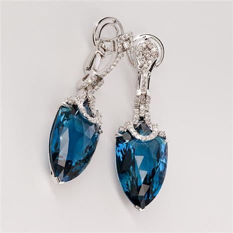 18K White Gold London Blue Topaz & Diamond Earrings