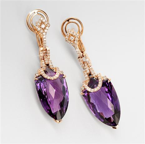 18K Rose Gold Amethyst & Diamond Earrings