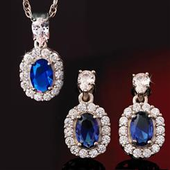 Blue Hope DiamomdAura Pendant, Earrings, and Chain