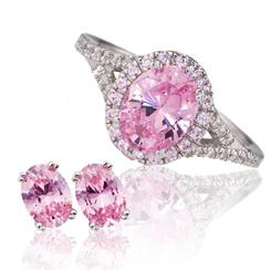 Priceless Pink DiamondAura Ring & Stud Earrings