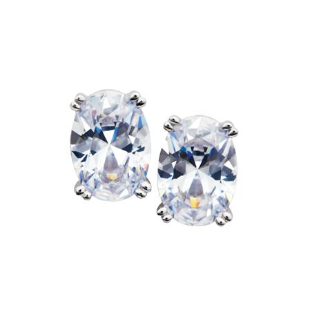 DiamondAura Priceless Stud Earrings (White)