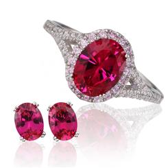 Priceless Red DiamondAura Ring & Stud Earrings