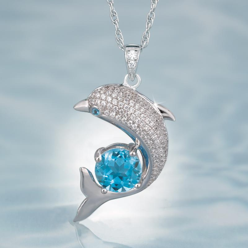 Silver Plated Dolphin Pendant Necklace 43 cm SS1F