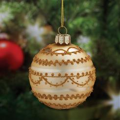Hand-Painted Gold Glass Ornament (4)