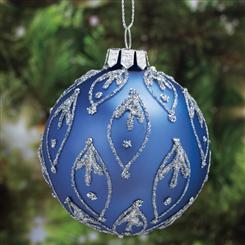 Hand-Painted Violet Glass Ornaments (4)