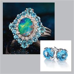 Giverny Ring & Swiss Blue Topaz Earrings