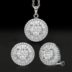 DiamondAura Fancy Cut Pendant, Earrings & Chain
