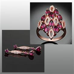 Victorian Rhodolite Garnet Ring and Earrings