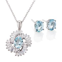 Aquamarine Storm Collection (Pendant, Chain and Earrings)