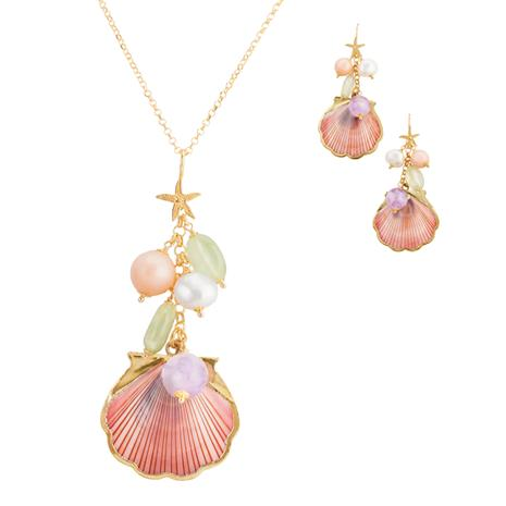Spiaggia Rosa Collection (Pendant, Earrings & Chain)