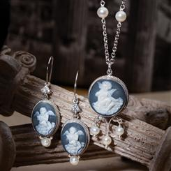 Cherubino Cameo Collection (Necklace and Earrings)