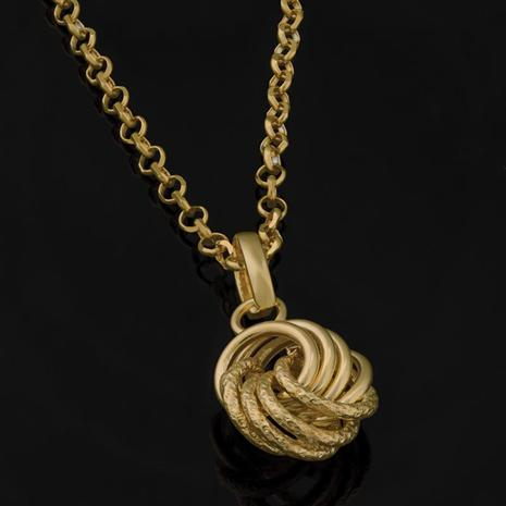14K Gold Italian Love Knot Pendant and Chain
