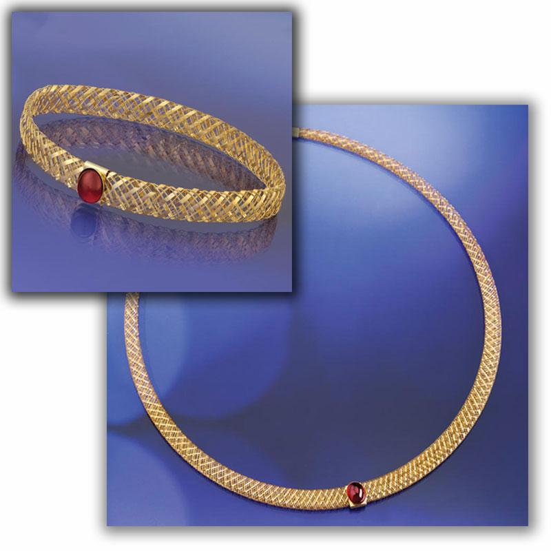Via Di Oro Garnet Necklace & Bracelet