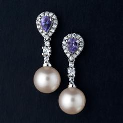 Tanzanite & Pearl Earrings (1/2 ctw)