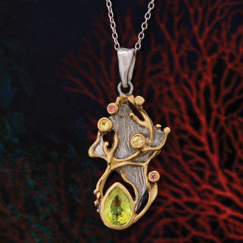 East of Eden Artisan Collection Peridot, Yellow and Orange Sapphire Pendant