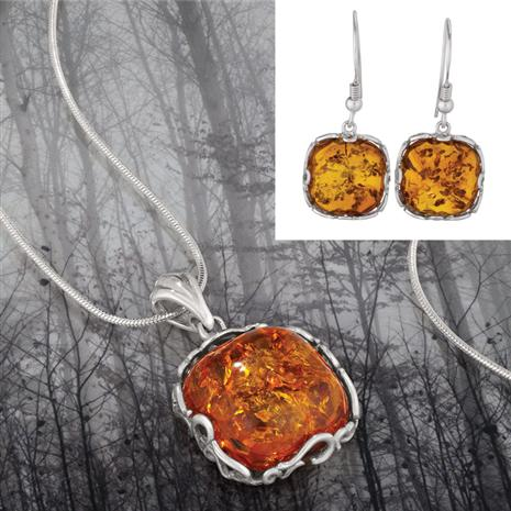 Amber Romance Collection (Necklace and Earrings)