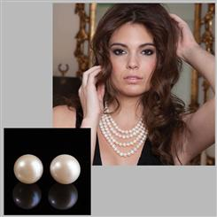 "80"" Pearl Infinity Necklace plus Earrings"