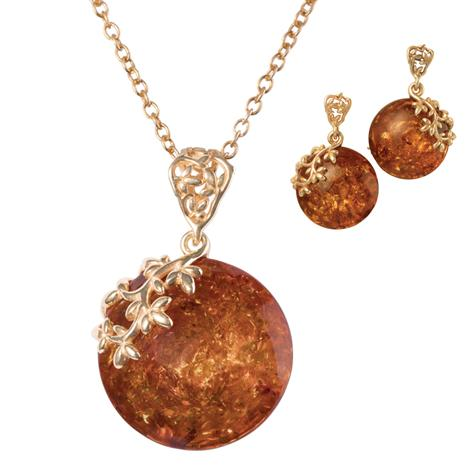 Amber Forever Necklace & Earrings