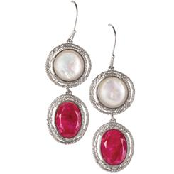 Ruby & Mother of Pearl Inspiration Earrings  (11-1/3ctw)