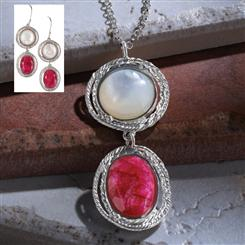 Ruby & Mother of Pearl Inspiration Necklace & Earrings