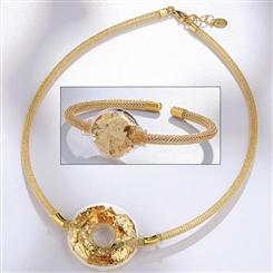24K Gold Murano Glass Necklace & Bangle