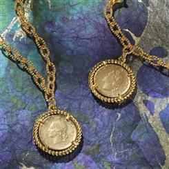Republica Italia Coin Necklace and Bracelet Set