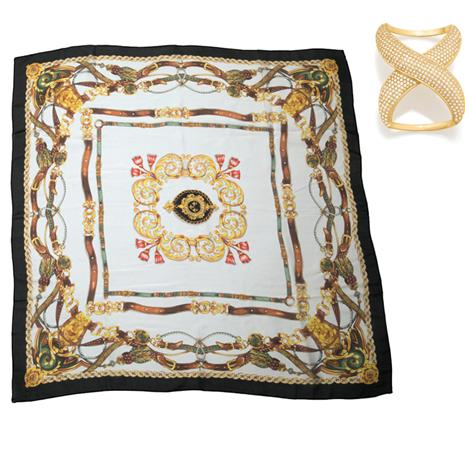 Guiliana Silk Scarf plus Scarf Ring