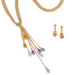 Chameleon Gemstone Necklace and Earrings