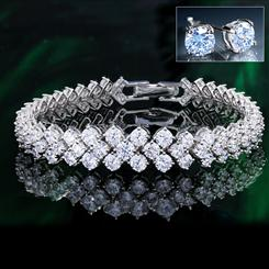 DiamondAura Elegance Collection Bracelet plus Studs
