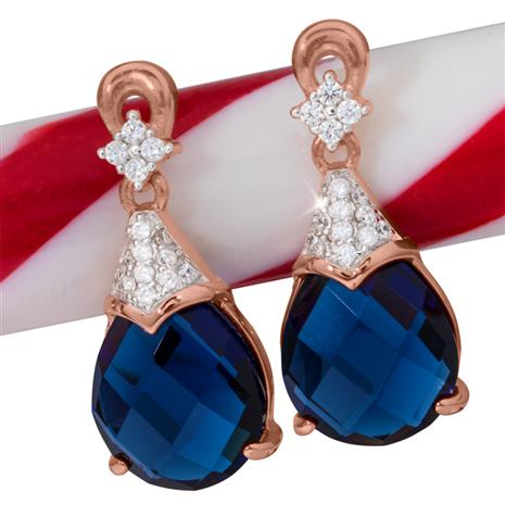 Gala Drop DiamondAura Earrings (Sapphire Blue)