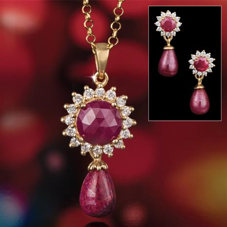 Renaissance Ruby Pendant, Chain & Earrings
