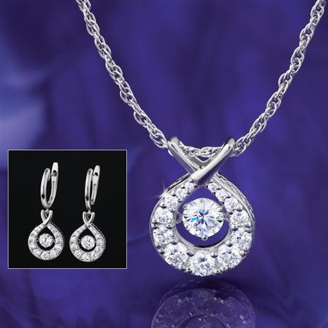 Dancing Sparkle DiamondAura Necklace and Earring Set