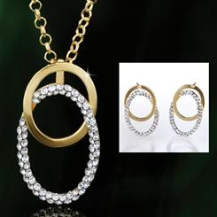14K Gold Doppio Cerchio Pendant, Chain & Earrings