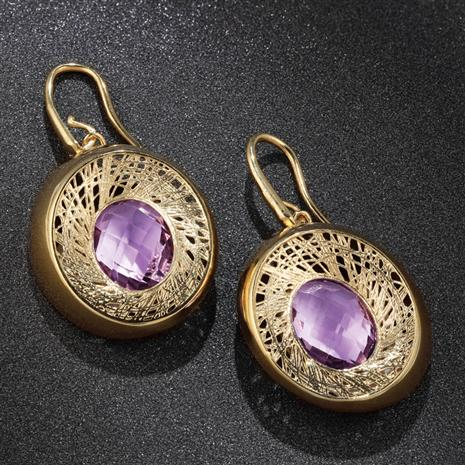 Golden Filigree Amethyst Earrings