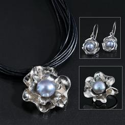 Pearl & Petals Sterling Silver Pearl Necklace, Ring & Earrings Set