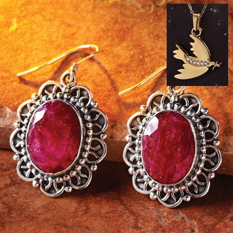 Oval Ruby Earrings plus FREE Dove Pendant