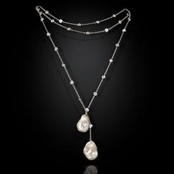 "36"" Baroque Pearl Lariat Necklace"