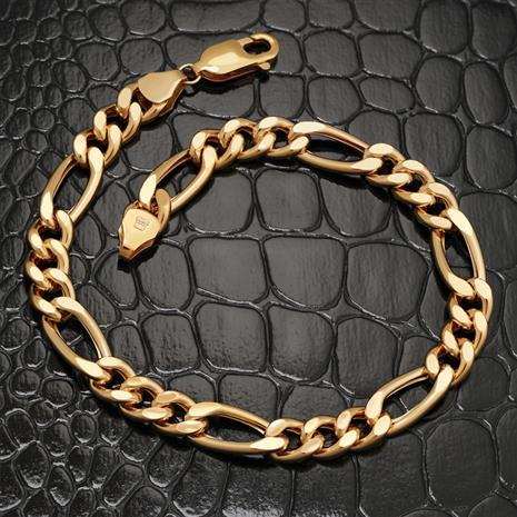 10K Gold Men's Figaro Chain Bracelet