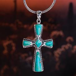 Mission Turquoise Cross Pendant (3 2/5 ctw)