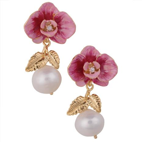 Sardinia Orchids & Pearls Earrings