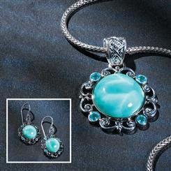 Larimar Exhibit Collection - Pendant, Chain and Earrings