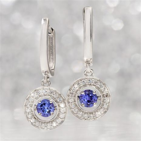14K WG Dancing Tanzanite & Diamond Earrings