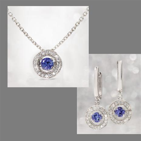 14K White Gold Dancing Tanzanite & Diamond Necklace & Earrings